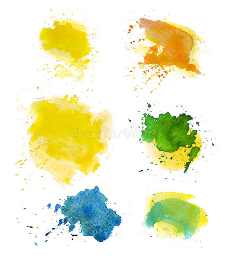 La peinture abstraite artistique d'aquarelle laisse tomber la collection d'isolement sur le fond blanc illustration stock
