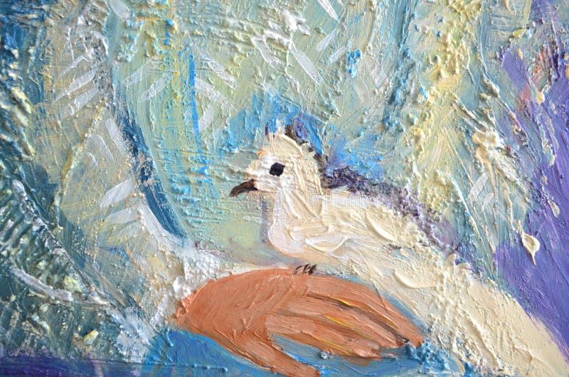 La peinture acrylique abstraite avec le blanc a plongé sur une main Pigeon se reposant sur une paume illustration libre de droits