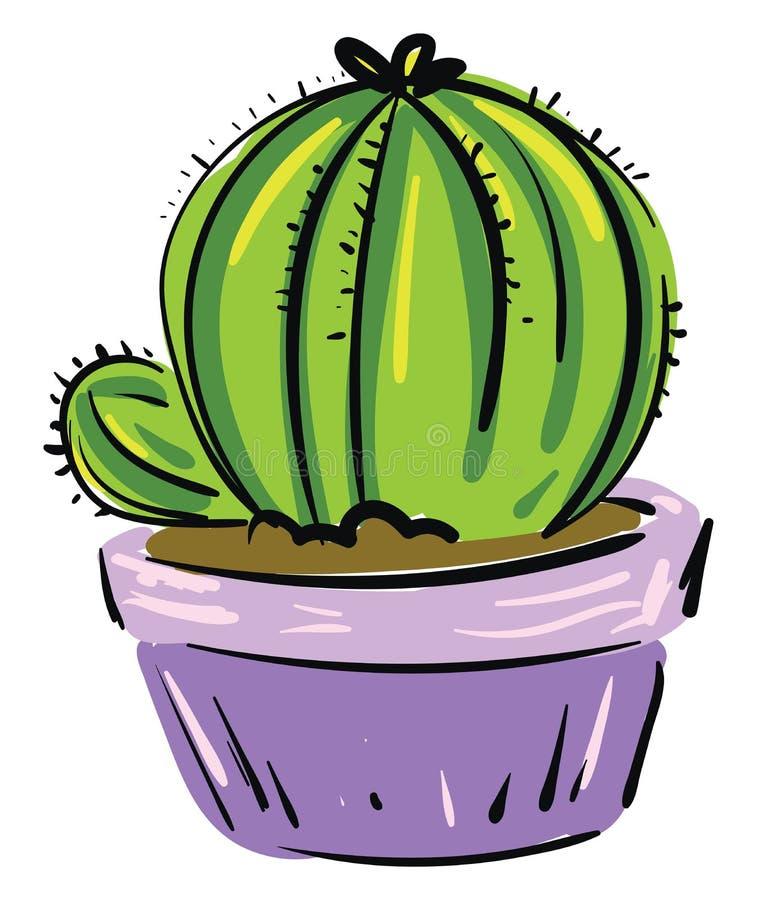 La peinture d'une plante cactus dans un pot de fleurs violettes offre un style supplémentaire pour le dessin ou l'illustration de illustration stock