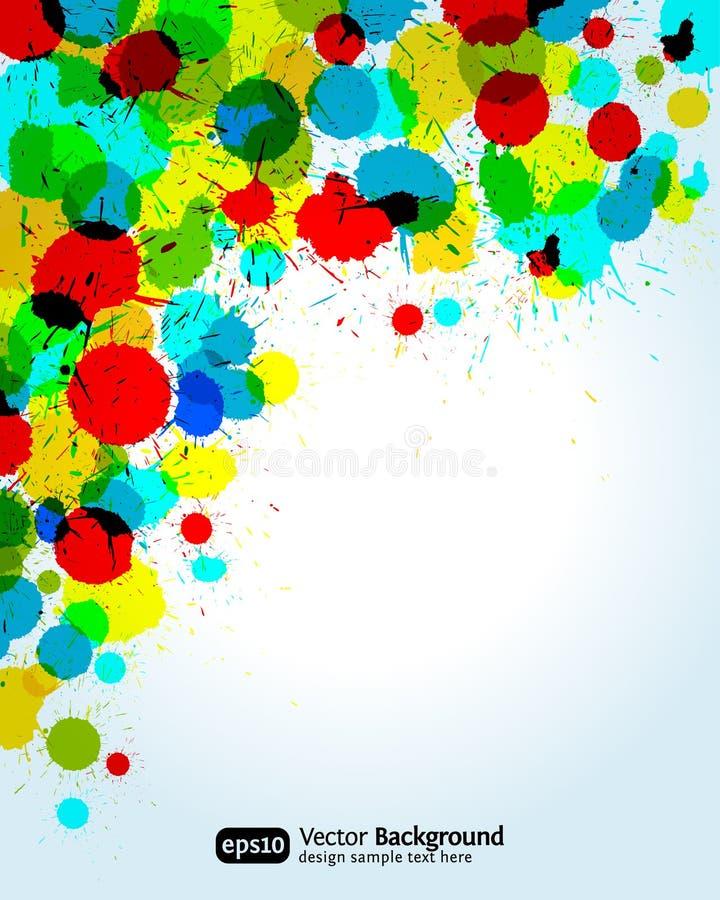 La peinture de couleur éclabousse le fond faisant le coin illustration stock