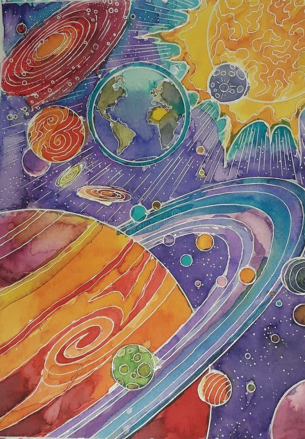 La peinture de finition d'Aquarellum, peinte par un enfant illustration libre de droits