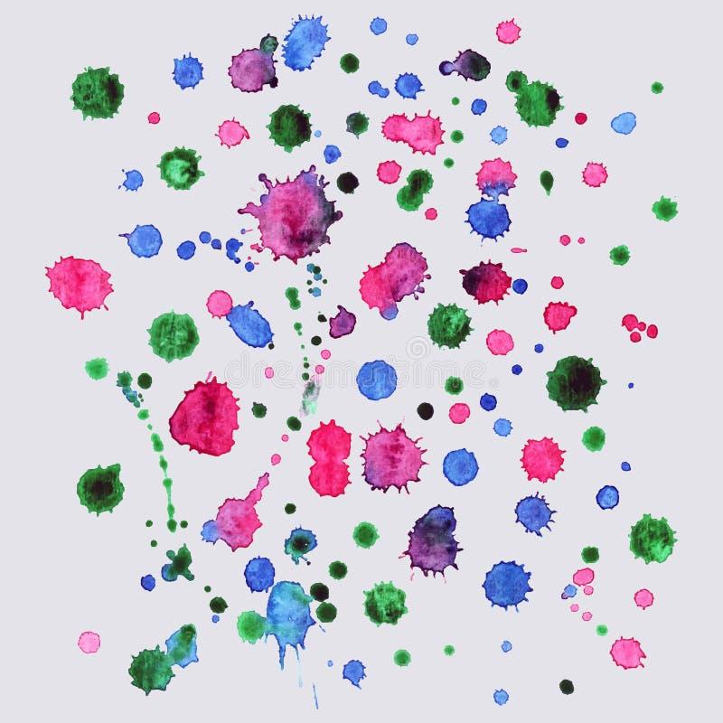 La peinture de jet, fond d'éclaboussure d'aquarelle, peinture colorée laisse tomber la texture illustration de vecteur