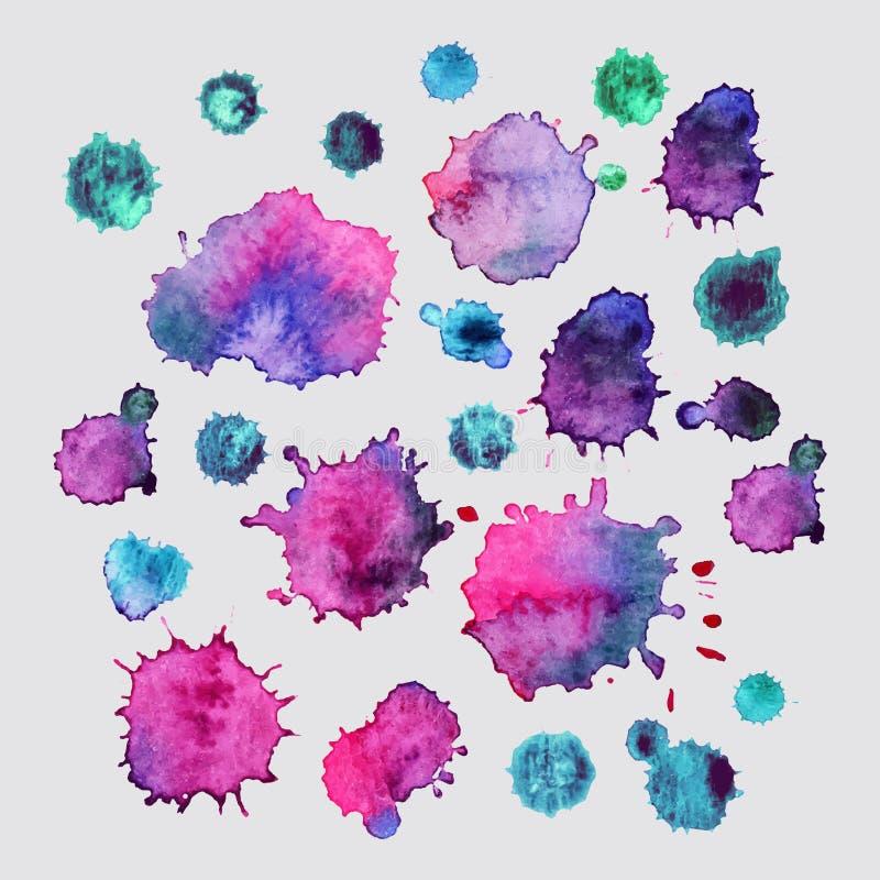 La peinture de jet, fond d'éclaboussure d'aquarelle, peinture colorée laisse tomber la texture illustration libre de droits