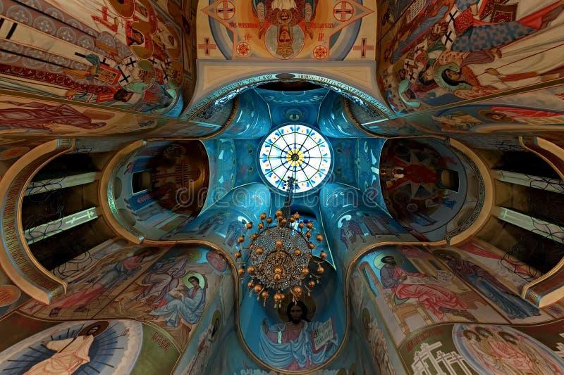 La peinture de plafond de l'église du martyre saint Tatiana à Odessa, Ukraine au le 28 mars 2019 images libres de droits