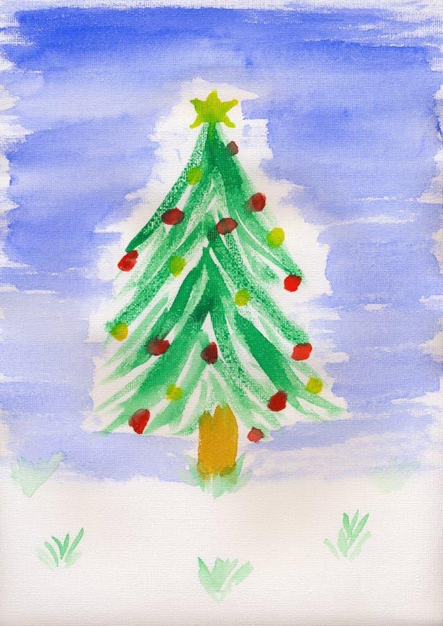 La peinture des enfants - arbre de Noël images libres de droits