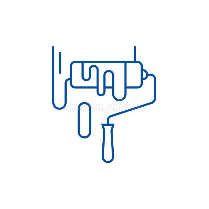La peinture fonctionne la ligne concept d'icône La peinture fonctionne le symbole plat de vecteur, signe, illustration d'ensemble illustration de vecteur