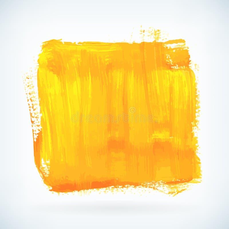 La peinture jaune artistique sèchent le fond de vecteur de course de brosse illustration stock