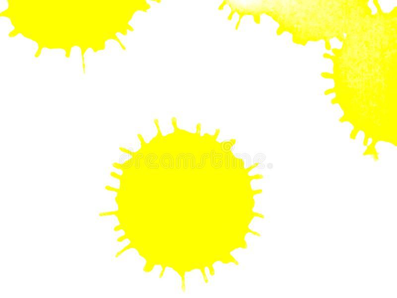 La peinture jaune d'aquarelle de couleur de point éclabousse sur le fond de livre blanc image stock
