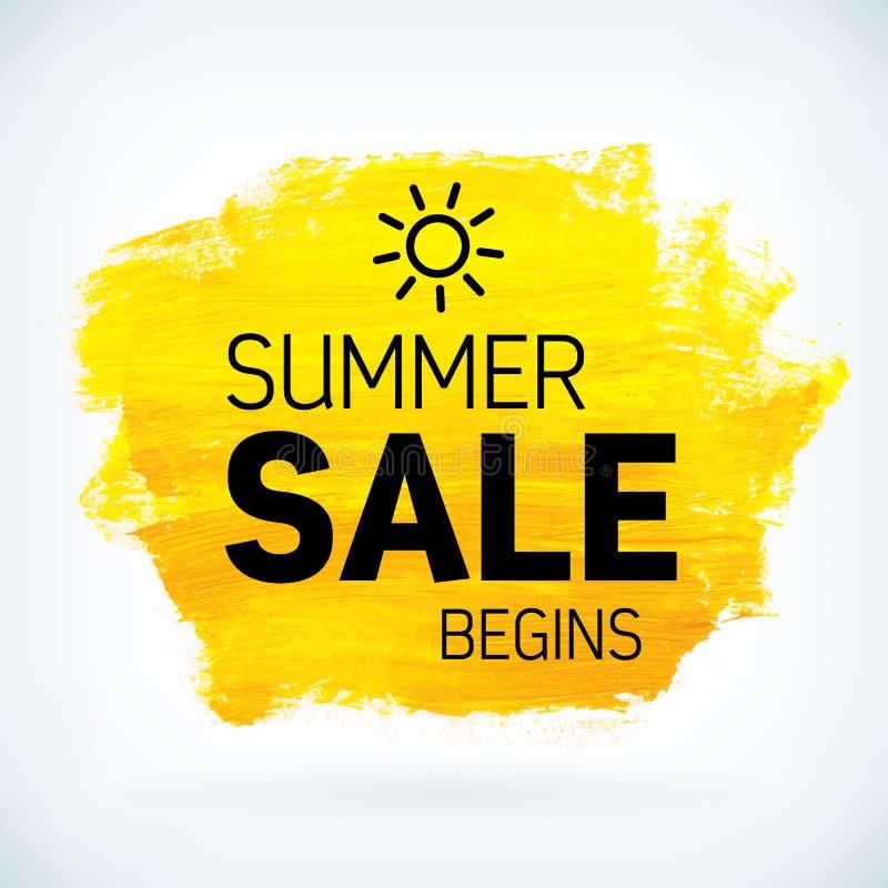 La peinture jaune de main artistique sèchent la vente d'été de course de brosse illustration de vecteur