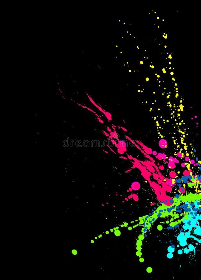 La peinture lumineuse éclabousse sur le fond noir illustration de vecteur