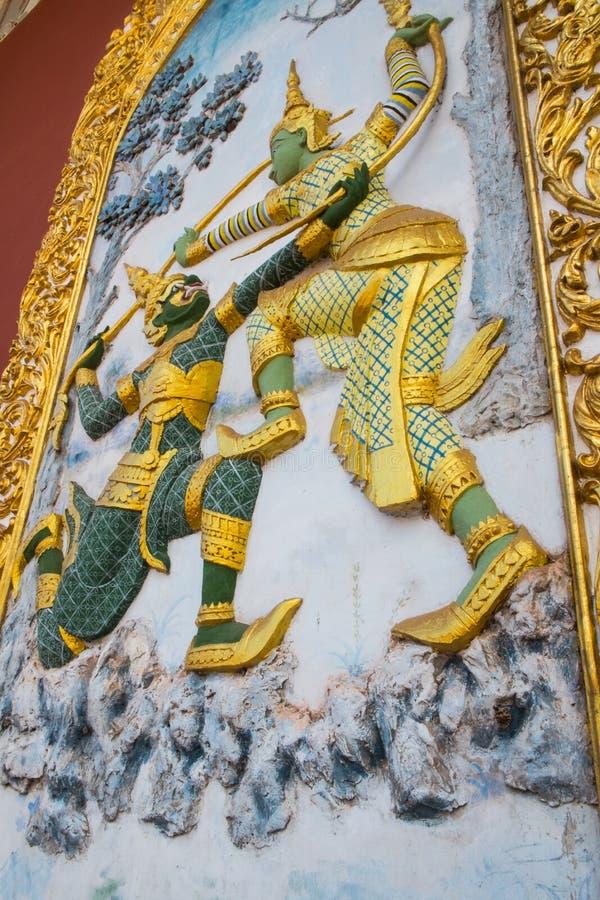 La peinture murale d'architecture en Thaïlande Ramakien images stock