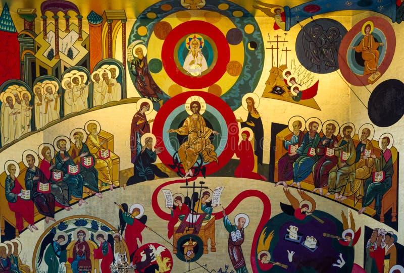 La peinture murale dans Domus Galilaeae, Israël images stock