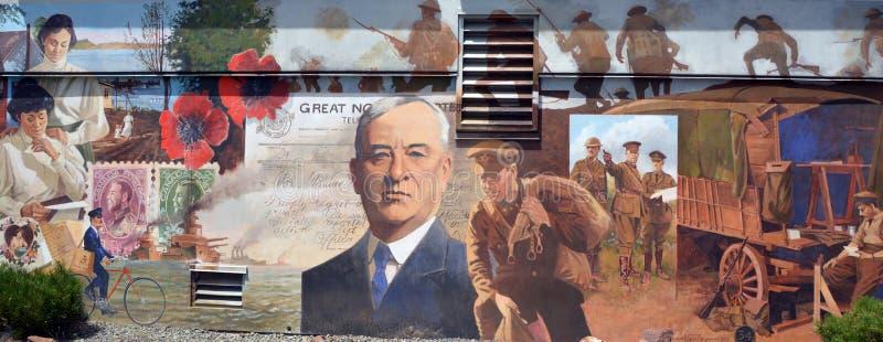 La peinture murale racontent l'histoire de Chemainus photographie stock libre de droits