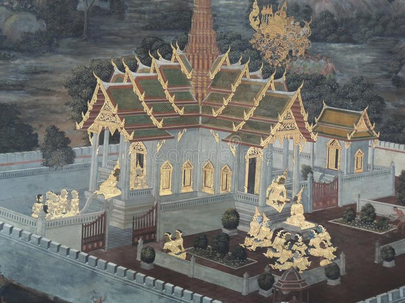 La peinture sur l'histoire de ramayana de mur chez Emerald Buddha Wat Phra Kaew à Bangkok photos stock
