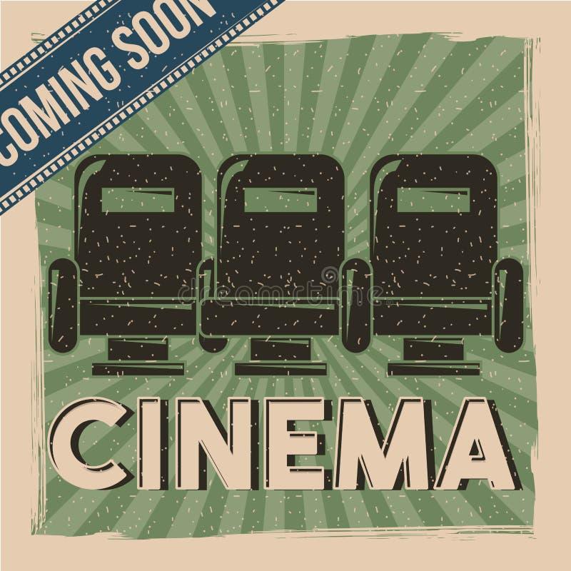 La película de cine retra del cartel del cine que viene pronto asienta la decoración stock de ilustración