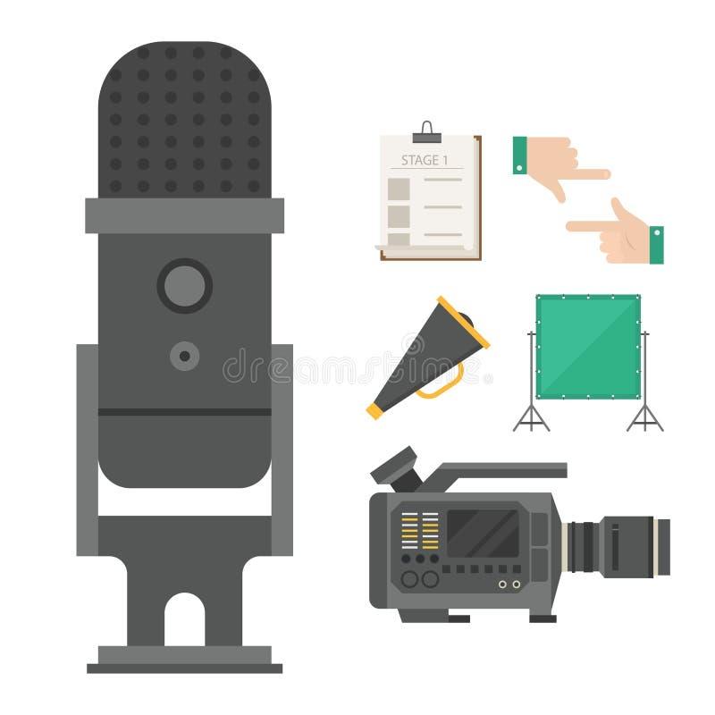 La película del cine que hace a la show televisivo equipa el ejemplo de la cinematografía del vector de los iconos de los símbolo libre illustration