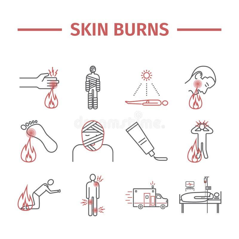 La pelle brucia le icone di kine trattamento Illustrazioni di vettore illustrazione vettoriale