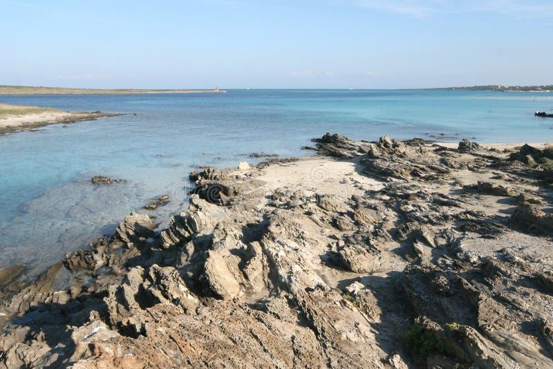 La Pelosa海滩 斯廷廷奥(撒丁岛) 图库摄影