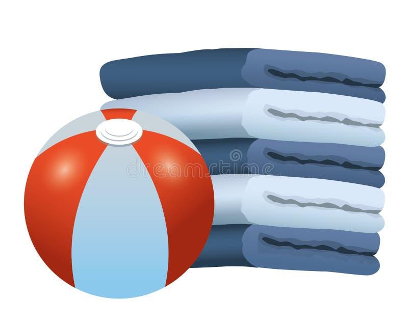 La pelota de playa y las toallas llenaron para arriba ilustración del vector