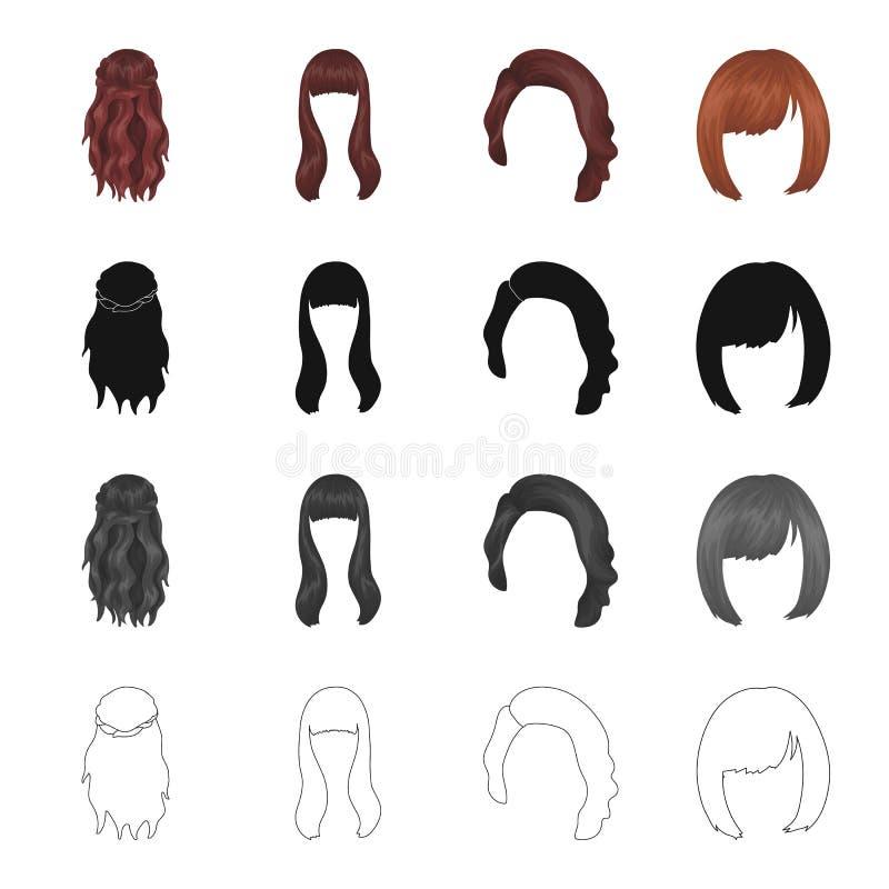 La peluca, el peluquero, el salón, y el otro icono del web en estilo de la historieta Salón, belleza, modelo, iconos en la colecc ilustración del vector