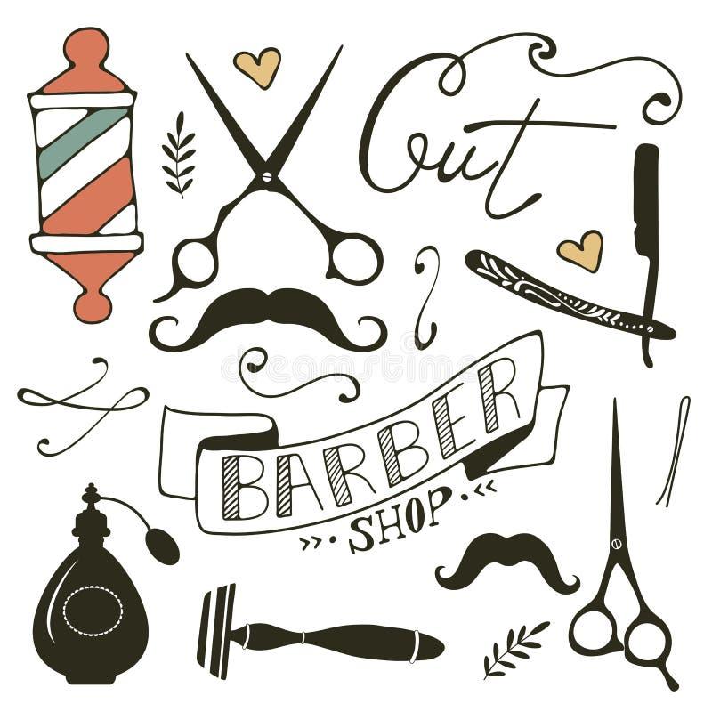 La peluquería de caballeros del vintage se opone la colección stock de ilustración
