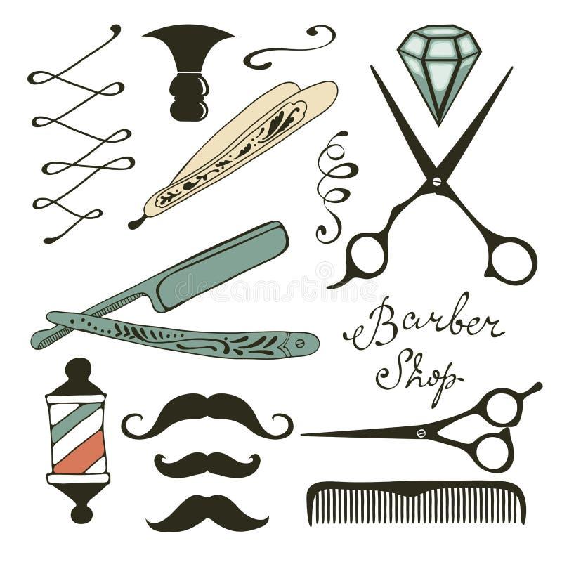 La peluquería de caballeros del vintage se opone la colección ilustración del vector