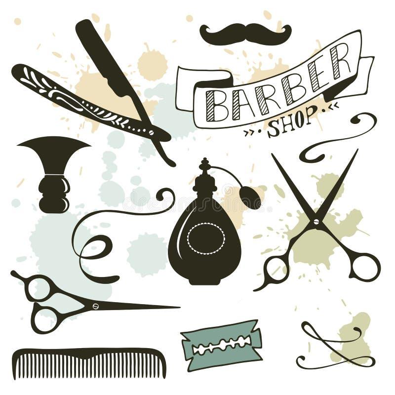 La peluquería de caballeros del vintage se opone la colección libre illustration