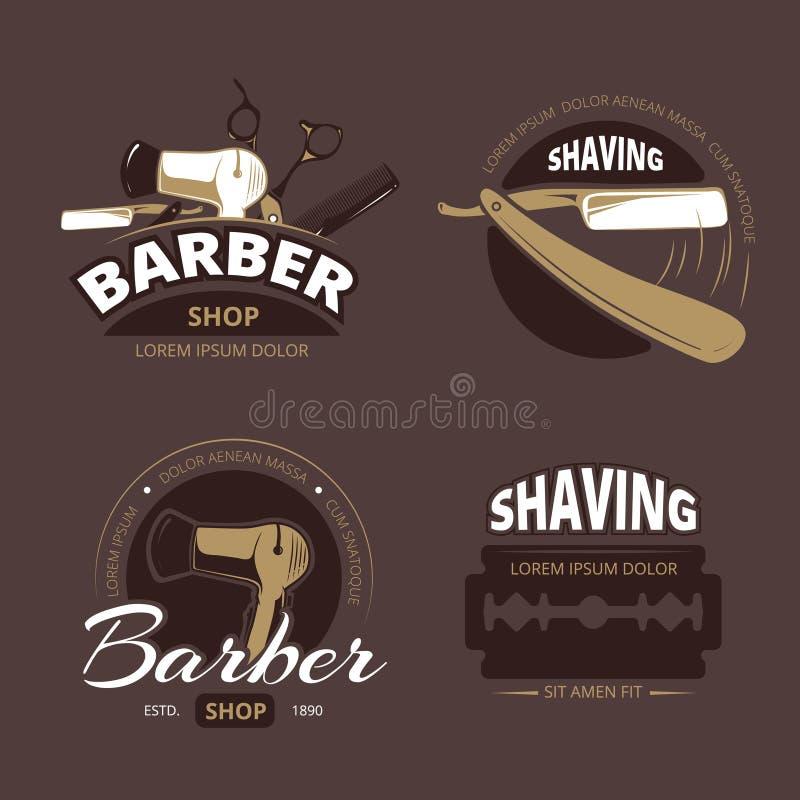 La peluquería de caballeros y el afeitado vector el logotipo del vintage, insignias de las etiquetas stock de ilustración