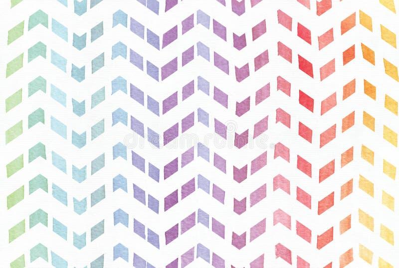 La pendenza ha schizzato il fondo dell'arcobaleno nel modello di zigzag, disegnato a mano con l'inchiostro dell'acquerello Modell fotografie stock libere da diritti