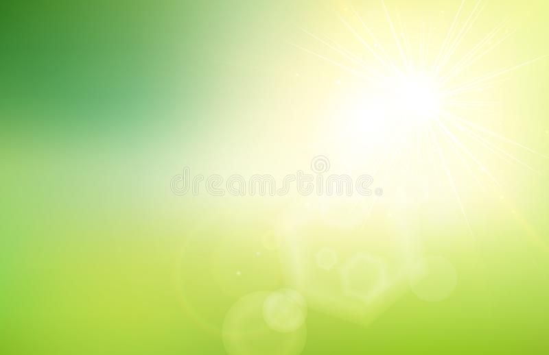 La pendiente verde abstracta de la naturaleza empañó el fondo con luz del sol stock de ilustración