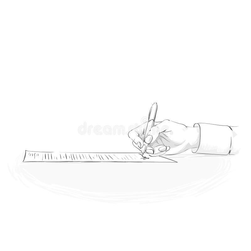 La penna della tenuta della mano dell'uomo di affari scrive firma sul contratto royalty illustrazione gratis