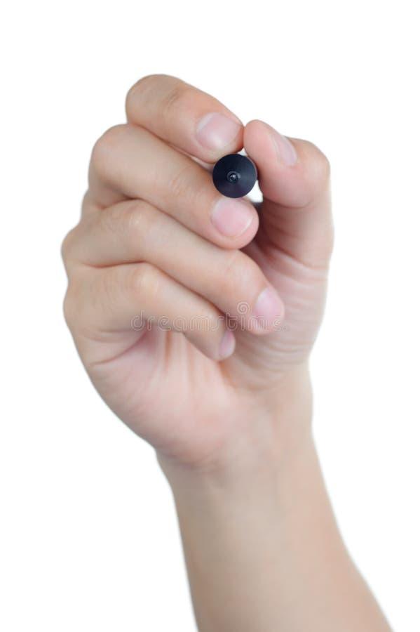 La penna della tenuta di posizione del segno della mano scrive isolato fotografia stock