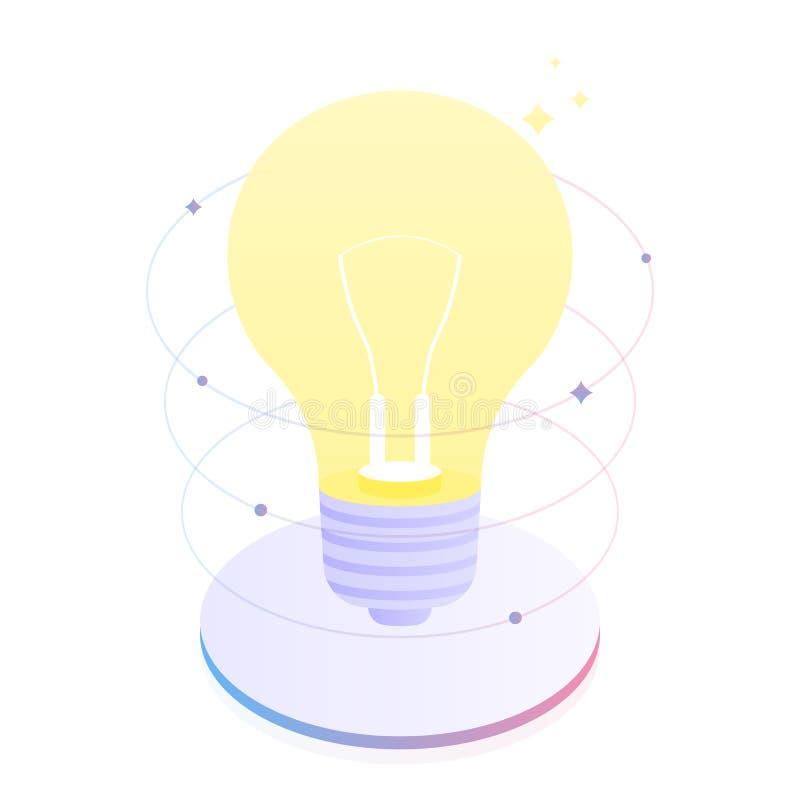 La pensée créative et le remue méninge, indiquent au sujet de votre idée Innovations d'affaires Illustration plate moderne de vec illustration libre de droits