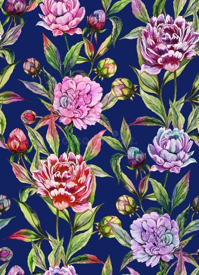 La peonía hermosa florece con los brotes y las hojas en líneas rectas en fondo azul profundo Modelo floral inconsútil ilustración del vector