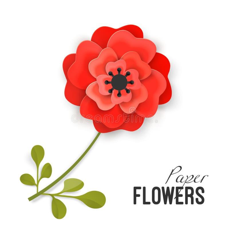 La peonía roja enorme de la flor de papel en pequeño tronco con las hojas aisló vector ilustración del vector