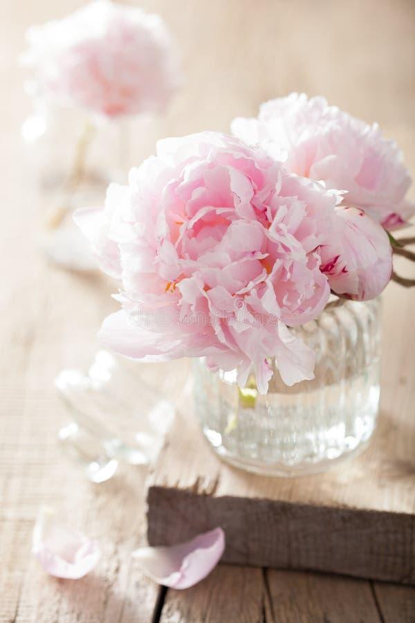 La peonía rosada hermosa florece el ramo en florero fotografía de archivo libre de regalías