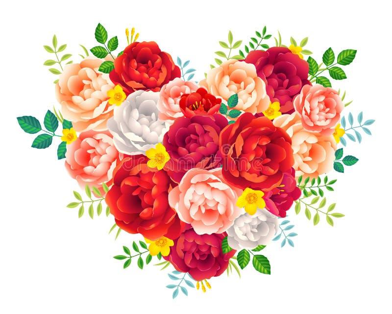 La peonia rossa e rosa porpora fiorisce con il cuore floreale di vettore delle foglie su fondo bianco illustrazione vettoriale