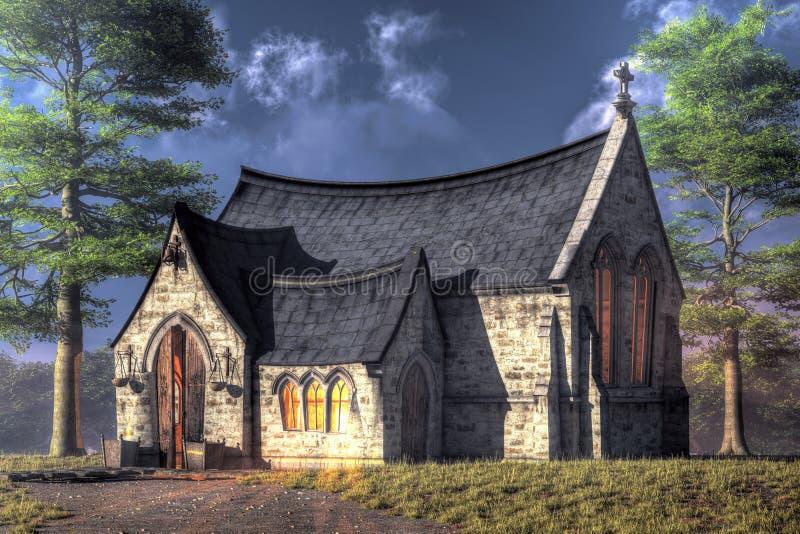 La pequeña capilla stock de ilustración