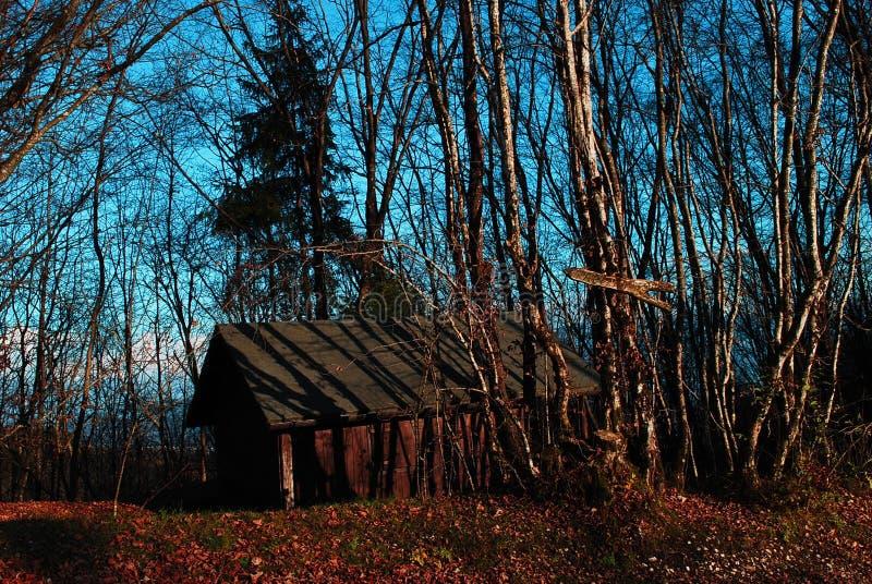 La pequeña casa de madera en el bosque del otoño imagen de archivo