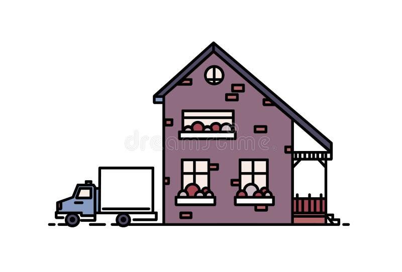 La pequeña casa suburbana de dos pisos con el pórtico construido con los ladrillos en estilo arquitectónico moderno y el camión p libre illustration