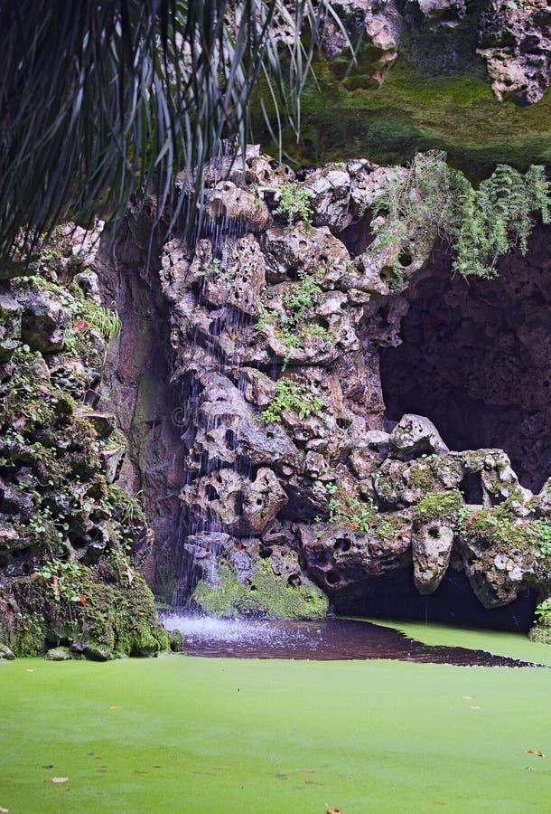 La pequeña cascada es belleza asombrosa Parque en Quinta da Regaleira, Sintra, Portugal imagenes de archivo
