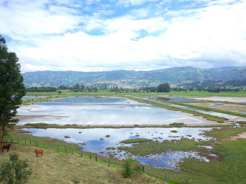 La pequeña ciudad de Paipa que mira sobre la tierra del pantano imagenes de archivo