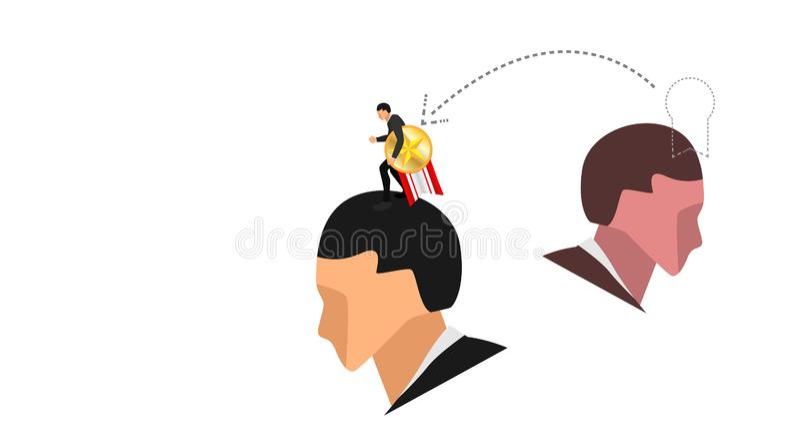 La pequeña estola del carácter el emblema precioso del perno de la cinta de la cabeza de otro hombre Ejemplo conceptual de robar  ilustración del vector