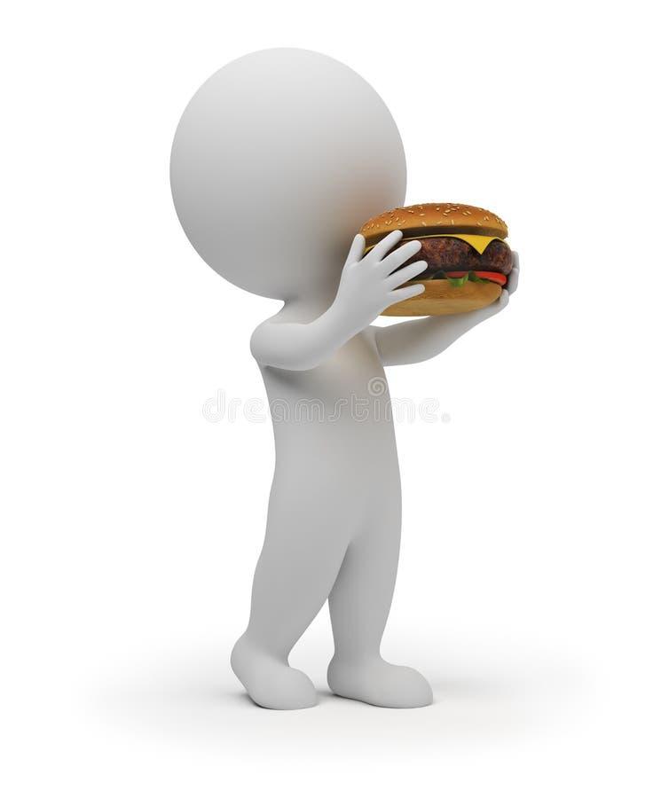 la pequeña gente 3d come una hamburguesa libre illustration