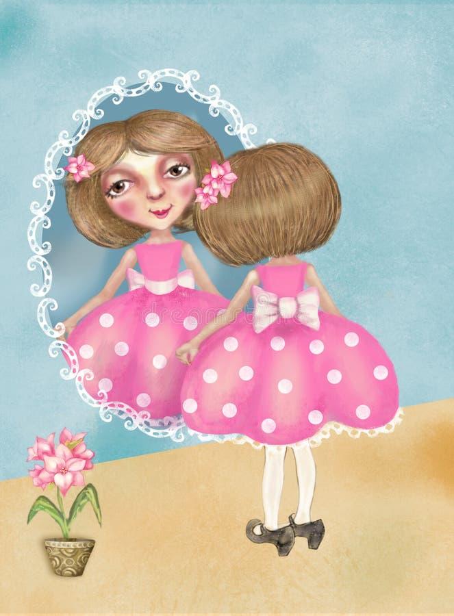 La pequeña muchacha bonita en los zapatos de su madre mira en el espejo ilustración del vector