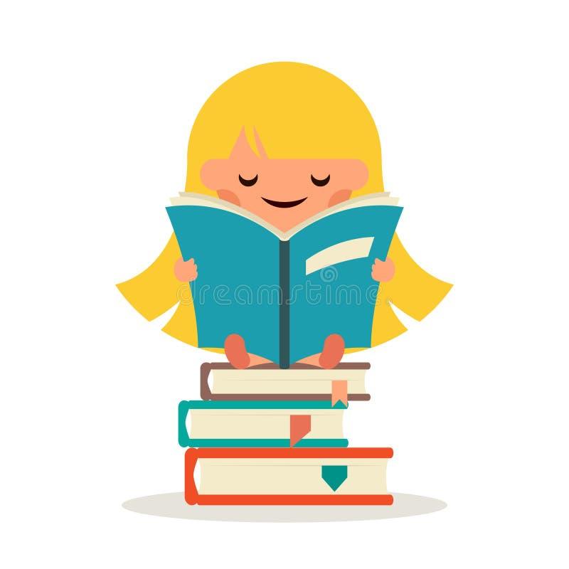 La pequeña muchacha feliz leyó al niño sonriente de la cola del libro del símbolo de hadas de la educación aprende vector plano d stock de ilustración
