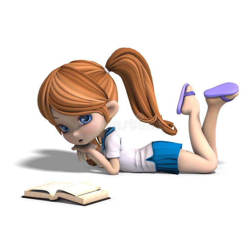 La pequeña muchacha linda de la escuela de la historieta lee un libro stock de ilustración