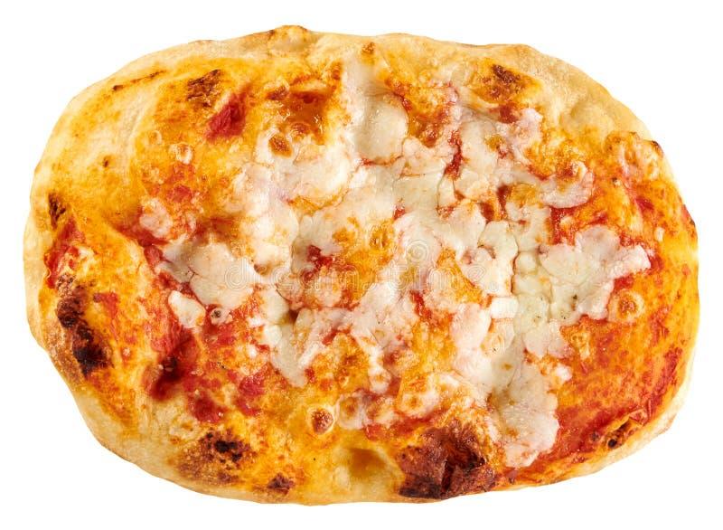 La pequeña panadería oval hizo la pizza clásica de Margherita imagen de archivo