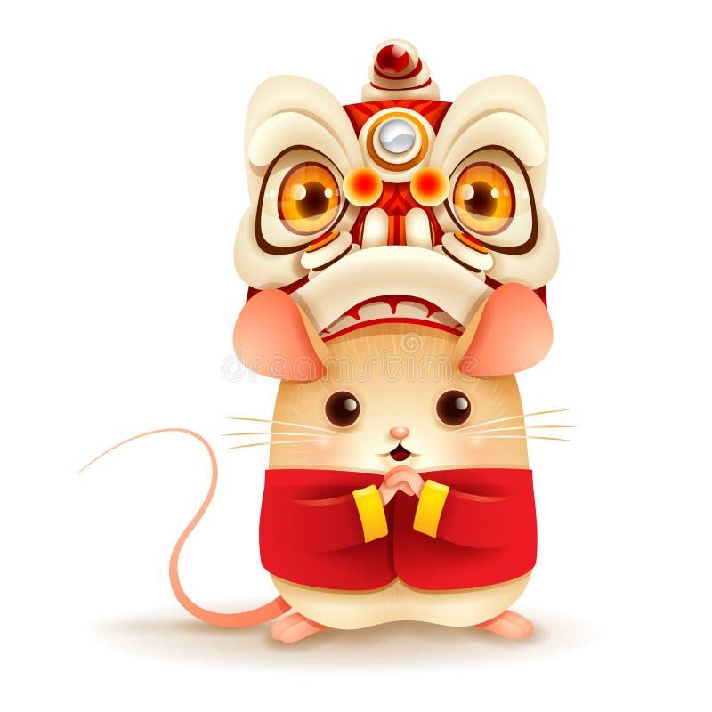 La pequeña rata con el Año Nuevo chino Lion Dance Head stock de ilustración