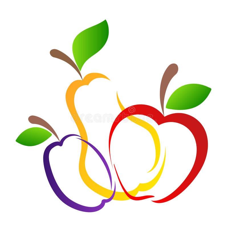 La pera amarilla dulce, el ciruelo púrpura y la mano roja de las frutas de la manzana dibujan el de ilustración del vector